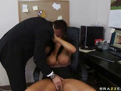 horny, scene, babe, office, desk, clothed, female-friendly, brunette, massive-cock, masturbation, sex-toys