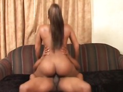Ebony hottie with beautiful round ass spreads wide for dick