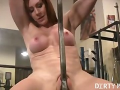 rubbing, penetration, pussy, legs, workout, masturbation, kinky, tits, gym