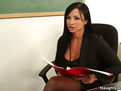 Big tit college professor jewels jade gets student to lick her pussy