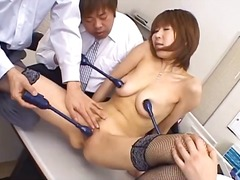 sucking, asian, busty, fingering, blowjob, office, vibrator