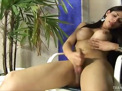 Yummy shemale bruna shows her wee cock