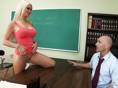 blond, deepthroat, schule, blowjob, hardcore, uniform