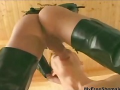 blond, shemale, latex, blowjob, große brüste