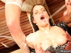 Hot dirty busty brunette gets covered part5