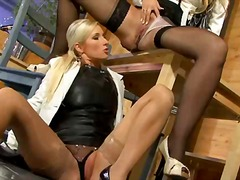 stockings, pissing, sucking, blonde