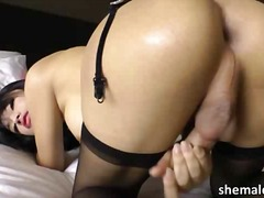 shemale, ladyboy, speelding, solo, asiër,