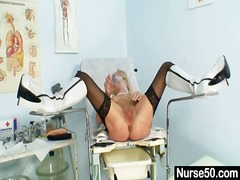 masturbation, grandma, hairy, toys, kinky, nurses, uniform, fetish, bizarre, spreading, old, clinic, dildo, speculum, pussy, blonde, stockings, granny