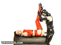 brunette, leather, natural, ass, heels, toys, anal, kinky, female