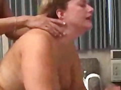 threesome, tattoo, stockings, blowjob, shaved, anal, cumshot, granny