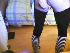 Filthy crossdresser stuffing butt at home