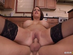 stockings, kitchen, hardcore, milf, big, couple, boobs, brunette, cock