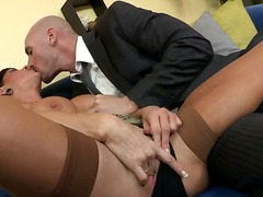 doggystyle, bed, hardcore, stockings, brunette, orgasm, squirt