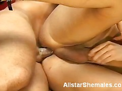 Blonde tranny banging a straight guy