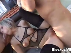 Rubia, Ménage À Trois, Montar, 2 Hombres 1 Mujer, Bisexual