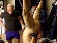 Crazy mature gives extreme bdsm massage for his friend