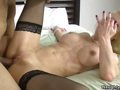 shaved, blonde, stockings, milf, friend, fucking, big, mommy, cougar, tits, busty, mom, pussy