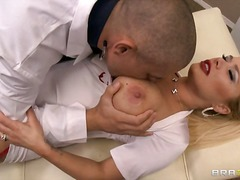 doctor, tits, clinic, stockings, office, oral, garter, big, hardcore, blowjob