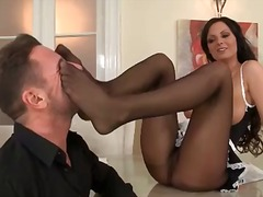 French maid gives her man a footjob