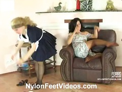 rubbing, cfnm, glasses, pantyhose, uniform, flashing, oil