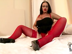 Bespectacled model emma butt wears red sex