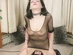 glasses, pissing, raven, fishnet, pee, fishnets, flashing, rubbing, device, heels