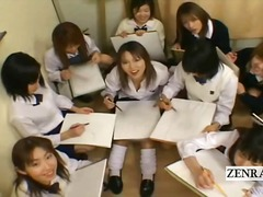 Subtitled cfnm japan schoolgirls art class with teacher