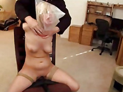 gagging, sex toy, bondage, hogtied, strapon, toys, vibrator, bound, vibe, blonde