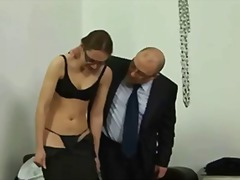 crossdresser, fetish, glasses, kinky, oil, rubbing, squirt, punishment, cowgirl, fishnet, heels, mistress, secretary