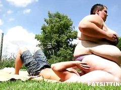 Facesitting with extremely fat ass