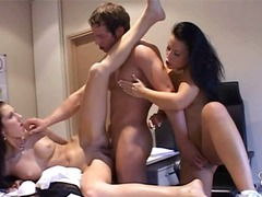 threesome, lecken, büro