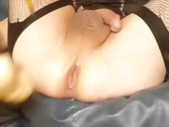 crossdressing, anal, crossdresser, blonde, toys, lingerie