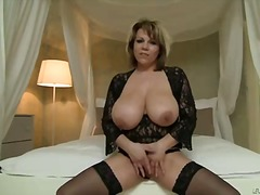 Blonde heavy chested milf gets her