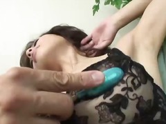 Asian babe toyed and blows a cock