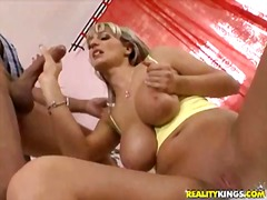 Jannet sucking cock and getting titty fucked