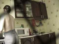 candid, kitchen, voyeur, topless, jeans, girls, spy