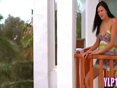 Euro girlfriend makes him cum on balcony