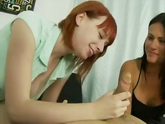 Lovely hotties ashli ames and zoey nixon share one impressive schlong and suck it really well