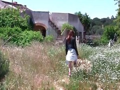 outdoors, skirt, redhead