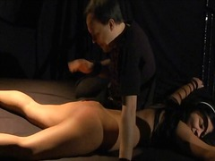 Bounded slave cries at orgasm