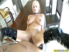 shaved, blonde, big, tits, fucking, pussy, boots