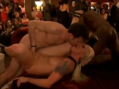 Party porn scene with tons of fucking around room