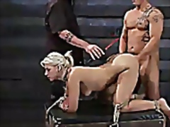 Bound blonde ass whipped and fucked