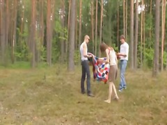 threesome, teen, forest, group, babe, russian, outdoor