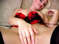 Arousing young loking long haired blonde