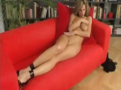 Turned on adorable blonde bombshell with
