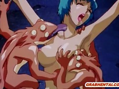 hentai, monster, group, chained, tied, orgy, animation, cock, bondage