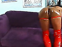 Black barbie gets her ass oiled up then fucked