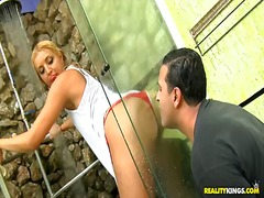 Glamour leggy blonde hottie pryscila brandao stays clothed and starts taking shower on eyes of tony tigrao. he enjoys from the view of how her outfit and body become wet.
