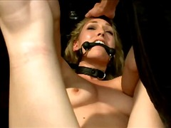 Blonde girl with mouthgag legs and arms tied up buttplug pussy fucked stimulated with vibrator by master in the dungeon